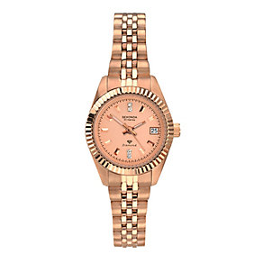 Sekonda Ladies' Rose Gold Plated Diamond Set Watch - Product number 2284359