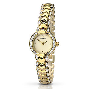Sekonda Ladies' Yellow Gold Plate Heart Link Watch - Product number 2284367
