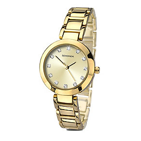 Sekonda Editions Ladies' Yellow Gold Plated Crystal Watch - Product number 2284391
