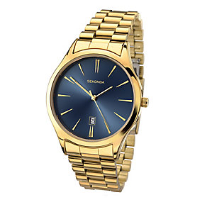 Sekonda Men's Blue Dial Yellow Gold Plated Watch - Product number 2284626