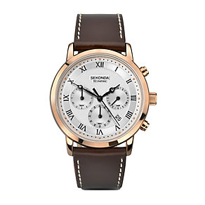 Sekonda Rose Gold Plated Brown Leather Strap Watch - Product number 2284634