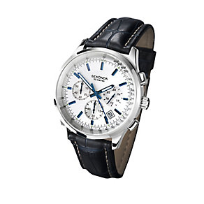 Sekonda Stainless Steel & Blue Leather Strap Watch - Product number 2284642