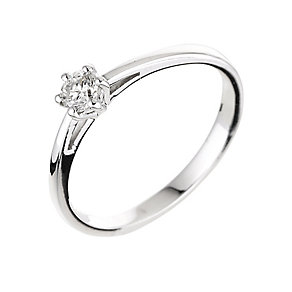 18ct white gold 0.25ct diamond solitaire six claw ring - Product number 2289490