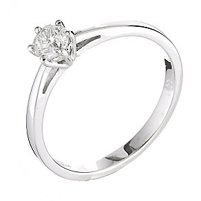 18ct white gold 0.33ct diamond solitaire six claw ring - Product number 2289652