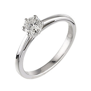 18ct white gold 0.40ct diamond solitaire six claw ring - Product number 2289792