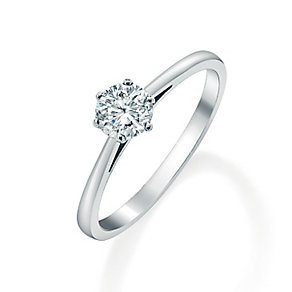 18ct white gold 0.50ct diamond solitaire six claw ring - Product number 2289946