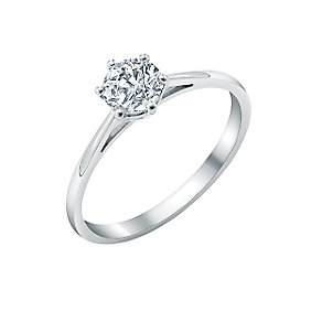18ct white gold 0.66ct diamond solitaire six claw ring - Product number 2290065
