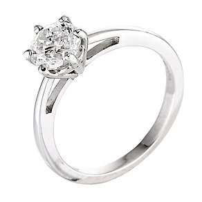 18ct white gold one carat diamond solitaire six claw ring - Product number 2290200