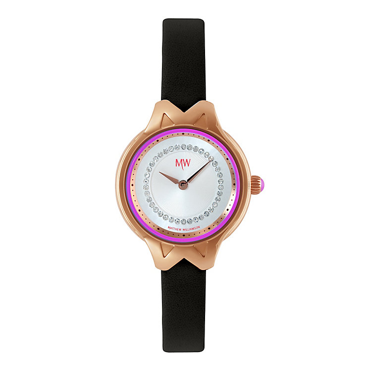 MW By Matthew Williamson Stone Set Black Leather Strap Watch - Product number 2291797
