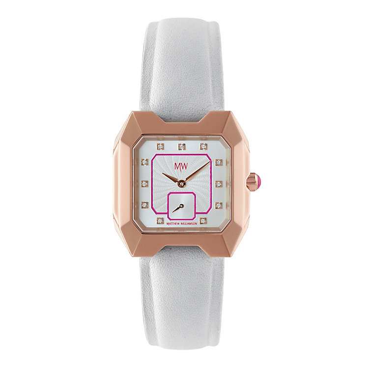MW by Matthew Williamson Ladies' White Leather Strap Watch - Product number 2291878