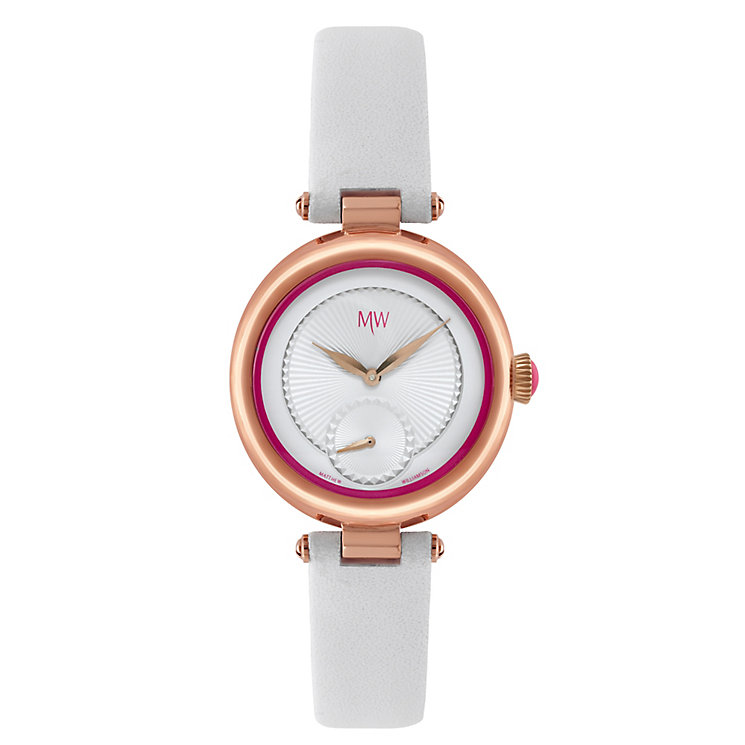 MW by Matthew Williamson Ladies' White Leather Strap Watch - Product number 2291894