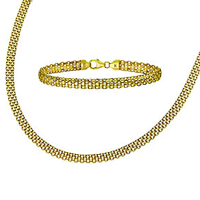 9ct Yellow Gold Mesh Detailed Collar and Bracelet Set - Product number 2292866