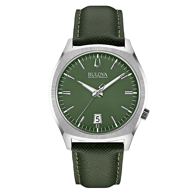 Bulova men's stainless steel green leather strap watch - Product number 2292963