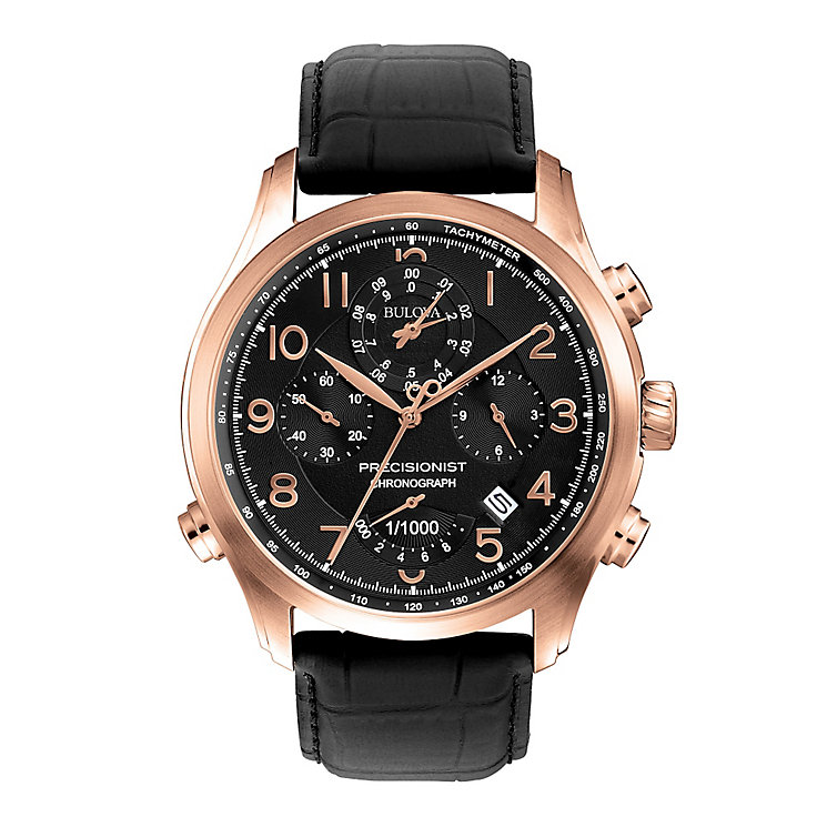 Bulova Precisionist men's black leather strap watch - Product number 2292971