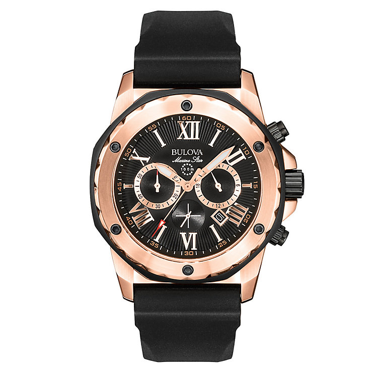 Buolva Marine Star men's black rubber strap watch - Product number 2293021