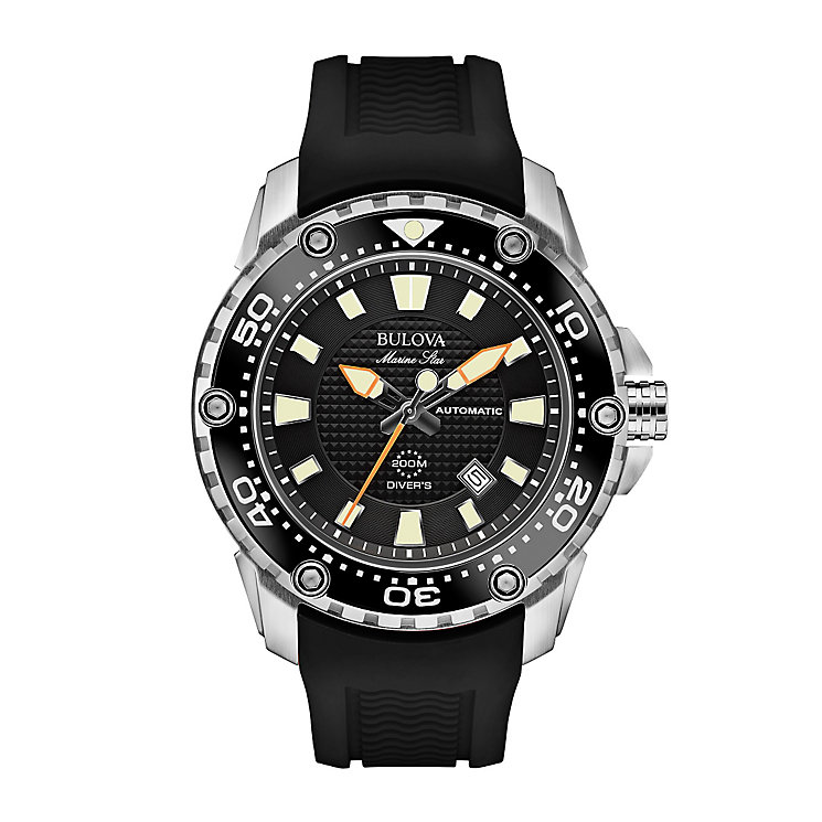 Bulova Marine Star men's black rubber strap watch - Product number 2293072