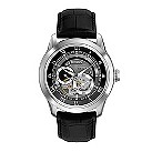 Bulova BVA men's skeleton dial & black leather strap watch - Product number 2293129