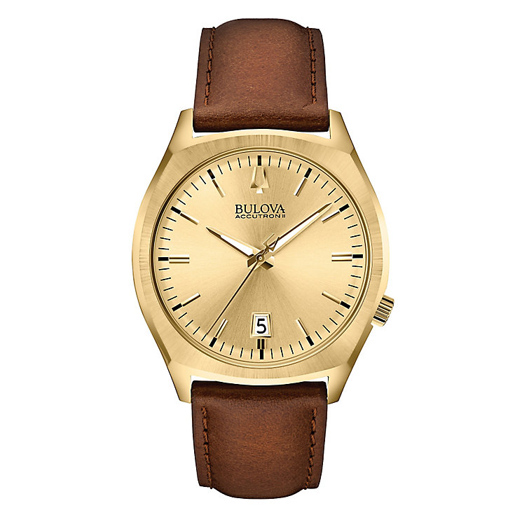 Bulova Accutron II Surveyor men's brown leather strap watch - Product number 2293374