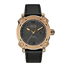 Bulova Percheron men's rose gold-plated black strap watch - Product number 2293463