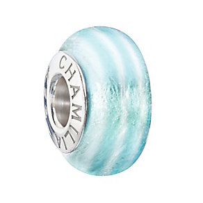 Chamilia Sterling Silver & Aqua Ribbon Candy Murano Bead - Product number 2293714