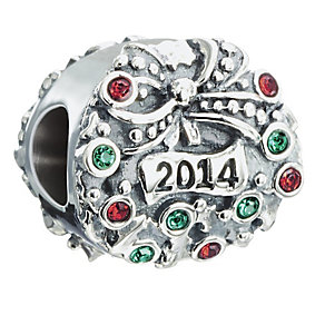 Chamilia Silver Swarovski Element 2014 Christmas Wreath Bead - Product number 2293919