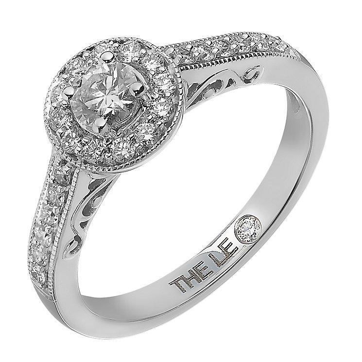 Leo Diamond 18ct white gold 0.50ct I I1 halo ring - Product number 2294729