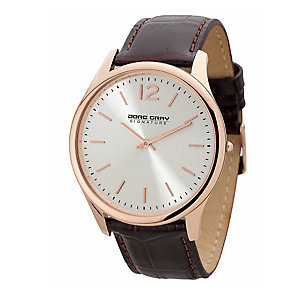 Jorg Gray Men's Rose Gold Tone Brown Leather Strap Watch - Product number 2295628