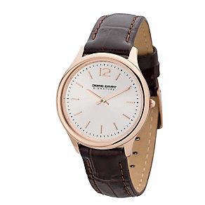 Jorg Gray Ladies' Rose Gold Tone Brown Leather Strap Watch - Product number 2295644