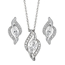 Sterling Silver Wave Cubic Zirconia Earring & Pendant Set - Product number 2296020