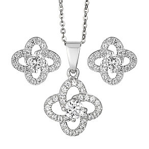 Sterling Silver Flower Cubic Zirconia Earring & Pendant Set - Product number 2296039