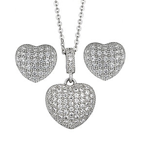 Sterling Silver Heart Cubic Zirconia Earring & Pendant Set - Product number 2296047
