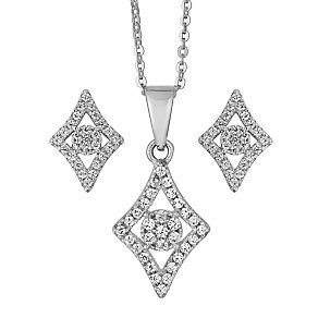 Silver Diamond Shaped Cubic Zirconia Earring & Pendant Set - Product number 2296055