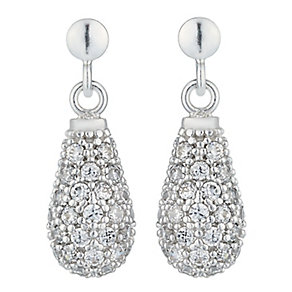 Silver Rhodium Plated Cubic Zirconia Drop Earrings - Product number 2296063