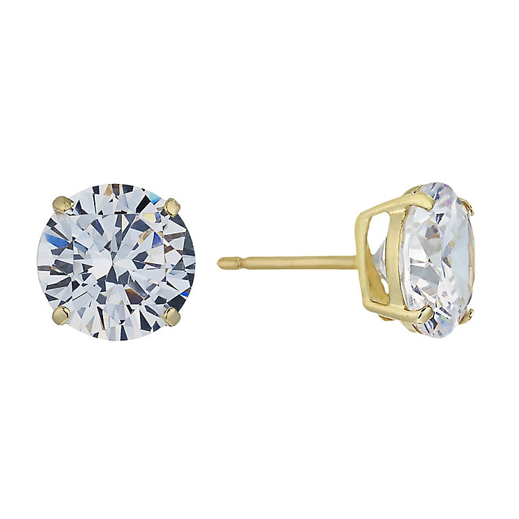 9ct Yellow Gold & 8mm Round Cubic Zirconia Stud Earring - Product number 2296071