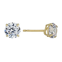 9ct Yellow Gold & 6mm Round Cubic Zirconia Stud Earring - Product number 2296098