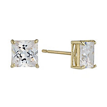 9ct Yellow Gold & 6mm Square Cubic Zirconia Stud Earring - Product number 2296128