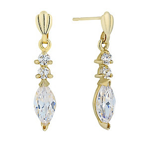 9ct Yellow Gold & Cubic Zirconia Drop Earrings - Product number 2296136