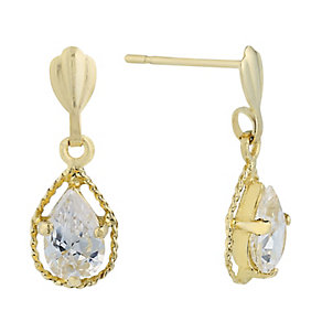 9ct Yellow Gold & Cubic Zirconia Treardrop Drop Earring - Product number 2296152
