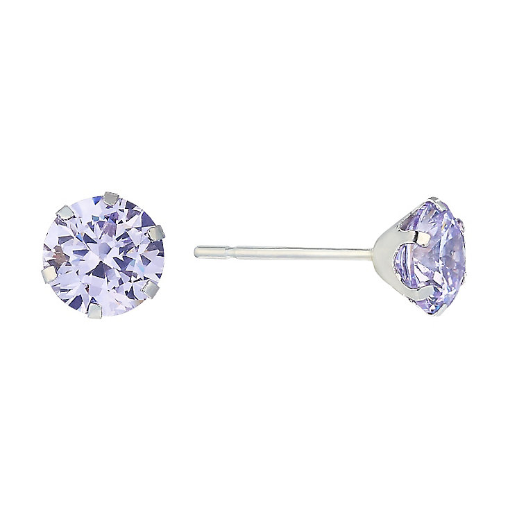 9ct White Gold & Lavender Cubic Zirconia Stud Earrings - Product number 2296160