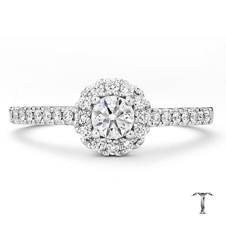 Tolkowsky 18ct white gold 0.50ct I-I1 diamond halo ring - Product number 2296179