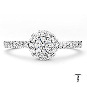 Tolkowsky 18ct white gold 0.50ct I I1 diamond halo ring - Product number 2296179