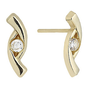 9ct Yellow Gold & Cubic Zirconia Wave Stud Earrings - Product number 2296314