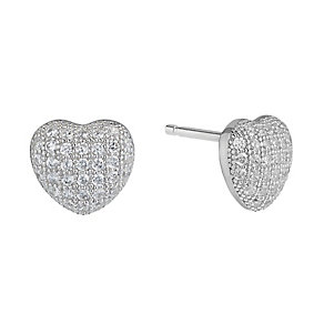 Silver Rhodium Plated Cubic Zirconia Heart Stud Earrings - Product number 2296322