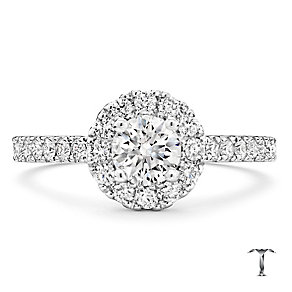 Tolkowsky 18ct white gold one carat I I1 diamond halo ring - Product number 2296349