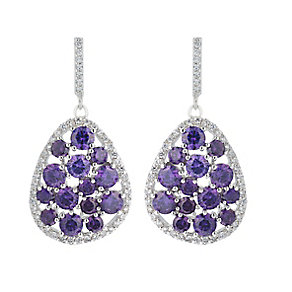 Sterling Silver Clear & Purple Crystal Drop Earrings - Product number 2296497