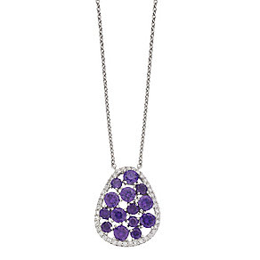 Sterling Silver Clear & Purple Crystal Drop Pendant - Product number 2296500