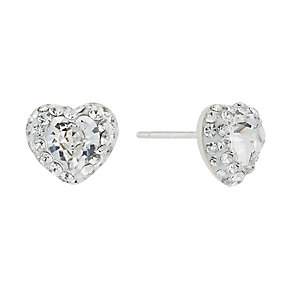 Sterling Silver Heart Shaped Crystal Glitter Stud Earrings - Product number 2296586