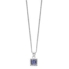 Sterling Silver Square Purple Crystal Glitter Pendant - Product number 2296594