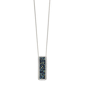 Sterling Silver Textured Crystal Rectangular Shaped Pendant - Product number 2296810
