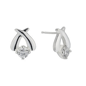 Sterling Silver Cubic Zirconia Kiss Crossover Stud Earrings - Product number 2296829
